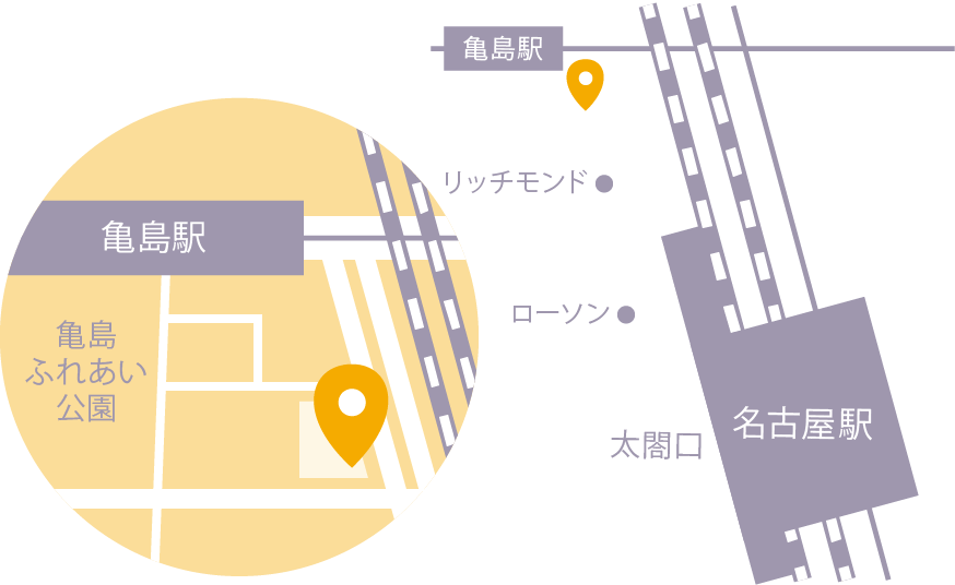 〒453-0013 愛知県名古屋市中村区亀島1丁目4−4 モテット名古屋1F